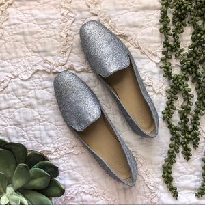 J. Crew Silver Glitter Smoking Slippers